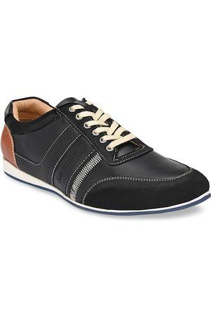 San Frissco Men Black Woven Design Sneakers