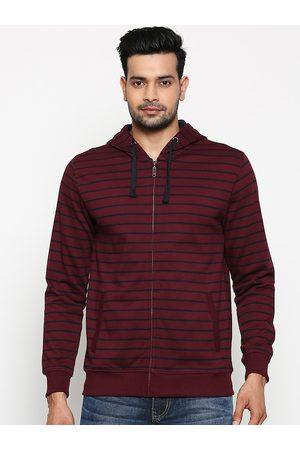 Pantaloons Men Sweatshirts - Men Purple Striped Sweatshirt