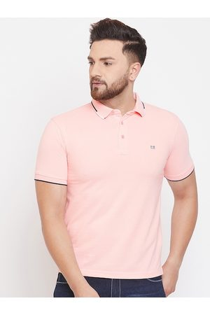 Okane Men Pink Solid Polo Collar T-shirt