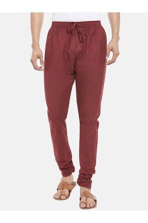 Pantaloons Men Maroon Solid Churidar