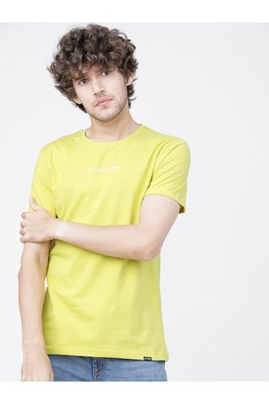 Highlander Men Lime Green Printed Pure Cotton Round Neck T-shirt