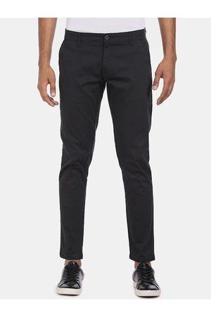 Ruggers Men Charcoal Regular Fit Solid Regular Trousers