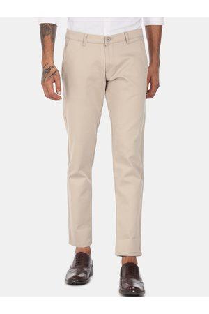 Ruggers Men Trousers - Men Beige Regular Fit Solid Regular Trousers