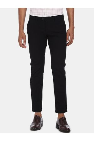 Ruggers Men Black Regular Fit Solid Regular Trousers