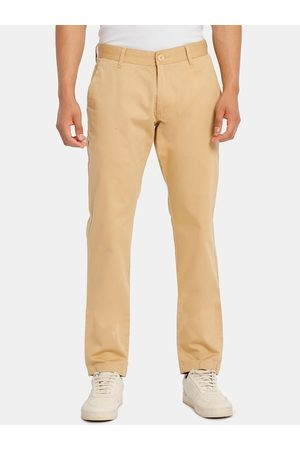Ruggers Men Beige Regular Fit Solid Regular Trousers