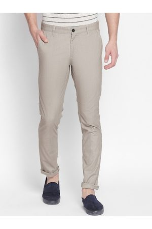 Pantaloons Men Beige Slim Fit Solid Regular Trousers
