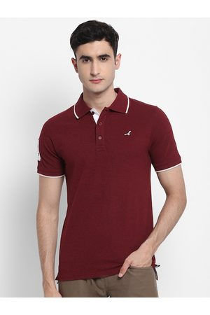 American Crew Men Short Sleeve - Men Burgundy Solid Polo Collar T-shirt