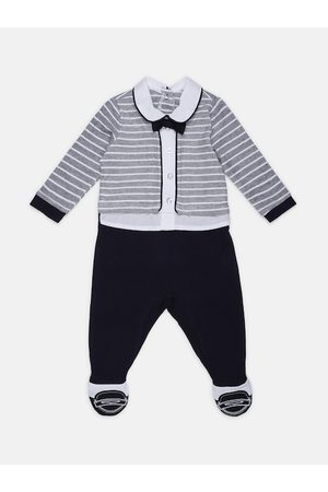 chicco Baby Sleepsuits - Infant Boys White & Grey Striped Nappy Opening Sleepsuit