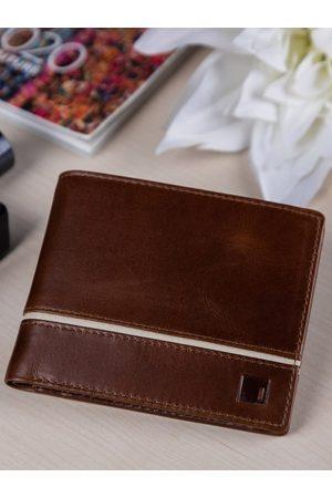 Impulse Men Wallets - Men Brown & White Solid Leather RFID Two Fold Wallet