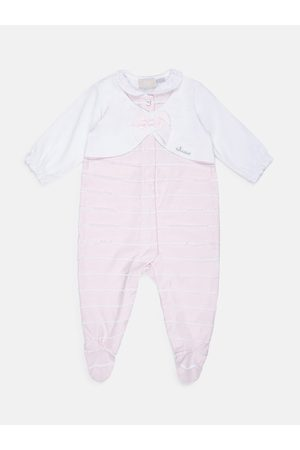 chicco Infant Girls Pink & White Striped Sleepsuit