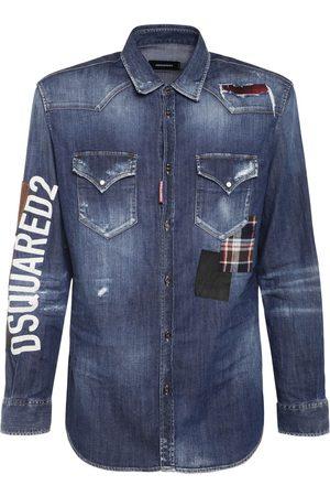 Dsquared2 Men Denim - Logo Print Patched Stretch Denim Shirt