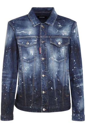 Dsquared2 Men Denim Jackets - Printed Cotton Denim Jacket