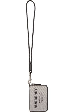 Burberry White & Canvas 'Horseferry' Lanyard Card Holder