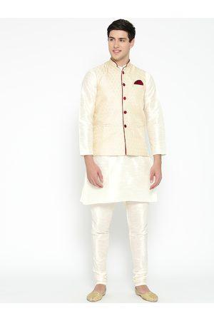 Mag Men White & Cream-Coloured Solid Kurta with Churidar & Nehru Jacket