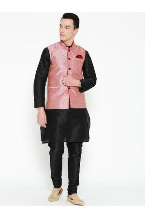 Mag Men Black Solid Kurta with Churidar & Nehru Jacket