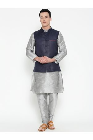 Mag Men Grey & Navy Blue Solid Kurta with Churidar with Nehru Jacket
