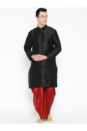 Mag Men Black & Red Solid Kurta with Dhoti Pants