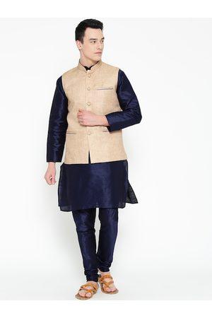 Mag Men Navy Blue Solid Kurta with Churidar with Nehru Jacket