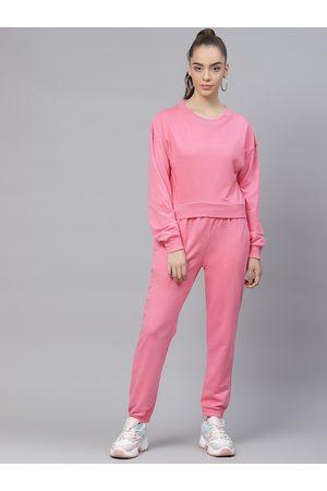 Laabha Women Pink Solid Tracksuit