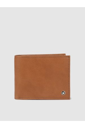 Louis Philippe Men Tan Brown Solid Two Fold Leather Wallet