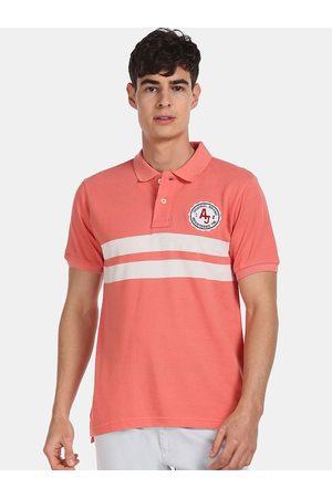 Aeropostale Men Pink & White Striped Cotton Polo Collar T-shirt