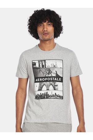 Aeropostale Men Light Grey Graphic Printed Round Neck T-shirt