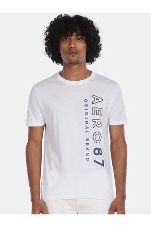 Aeropostale Men White Printed Round Neck Cotton T-shirt