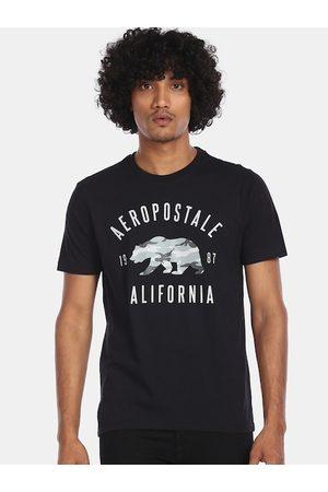 Aeropostale Men Black Printed Hood T-shirt