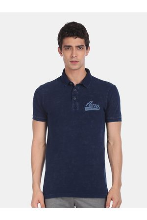 Aeropostale Men Navy Blue Solid Polo Collar T-shirt