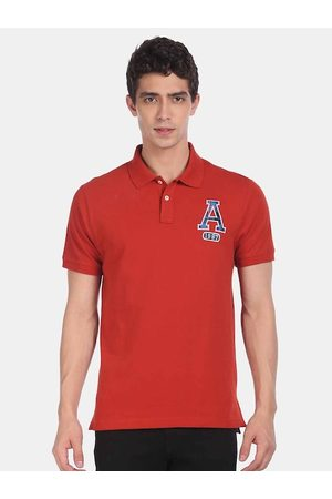 Aeropostale Men Rust Red Solid Polo Collar T-shirt