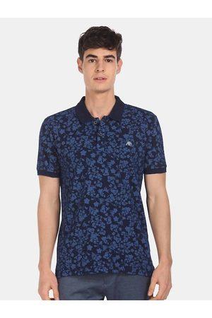 Aeropostale Men Short Sleeve - Men Navy Blue Printed Polo Collar T-shirt
