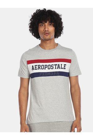 Aeropostale Men Grey Colourblocked Round Neck T-shirt
