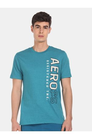 Aeropostale Men Blue Printed Round Neck T-shirt