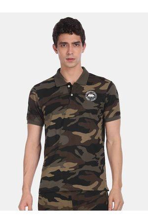 Aeropostale Men Green Camouflage Printed Polo Collar T-shirt