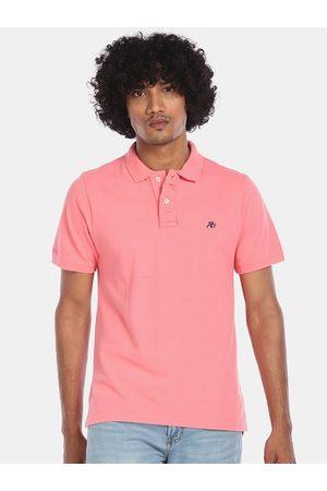 Aeropostale Men Pink Solid Polo Collar Cotton T-shirt