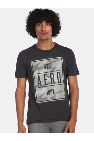 Aeropostale Men Charcoal Grey Printed Round Neck T-shirt