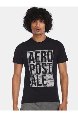 Aeropostale Men Black Brand Logo Printed Round Neck T-shirt