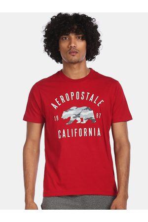 Aeropostale Men Red Printed Round Neck T-shirt