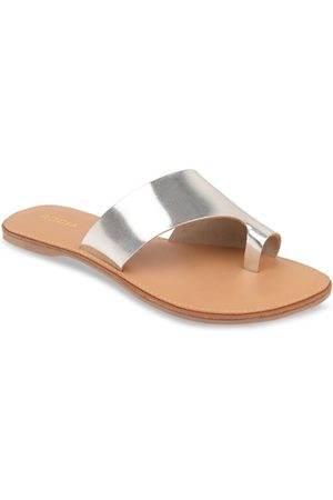 Rocia Women Silver-Toned Textured Open Toe Flats