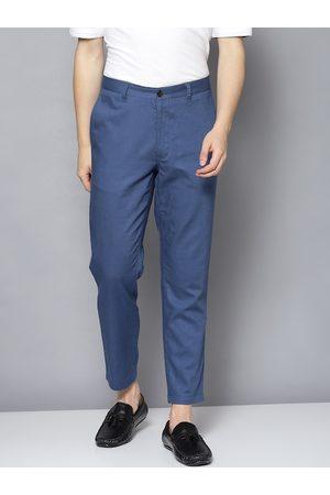 Ben Sherman Men Blue Tapered Fit Solid Regular Trousers