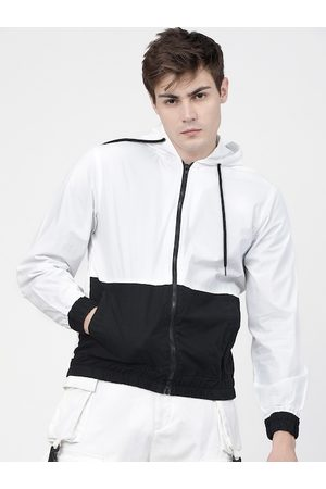 Highlander Men White & Black Colourblocked Hooded Sporty Jacket