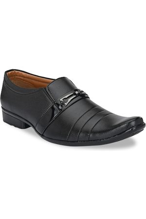Azzaro Men Black Textured Formal Slip-Ons