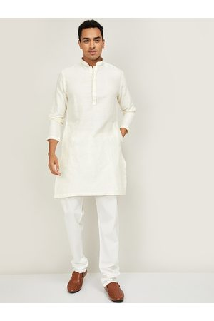 Lifestyle Men Cream-Coloured Pure Cotton Geometric Printed Chikankari Kurta