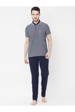 Sweet Dreams Men Navy Blue & White Striped T-shirt and Pyjamas
