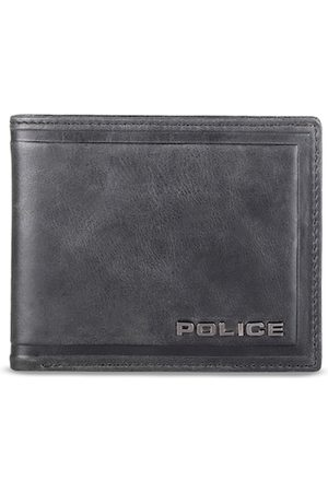 Police Men Black Textured Leather Two Fold Wallet
