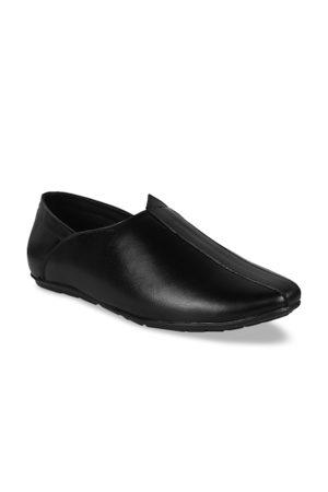 BuckleUp Men Black Solid Leather Semi-Formal Mojari Slip-On Shoes