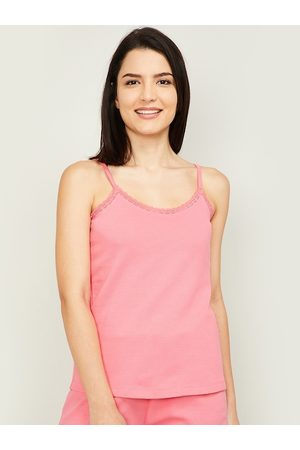 Lifestyle Women Coral Red Solid Camisole