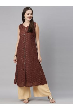 Neerus Women Coffe Brown Embroidered & Sequinned Front Slit A-Line Kurta