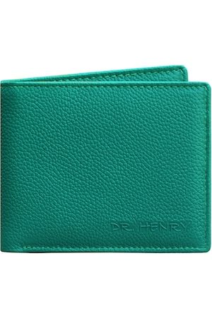 DR. HENRY Men Teal Textured Two Fold Leather Wallet