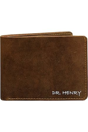 DR. HENRY Men Tan Textured Two Fold Leather Wallet
